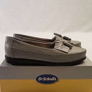 Dr Sholl's Grey Kiltie Leather Tassel Loafers